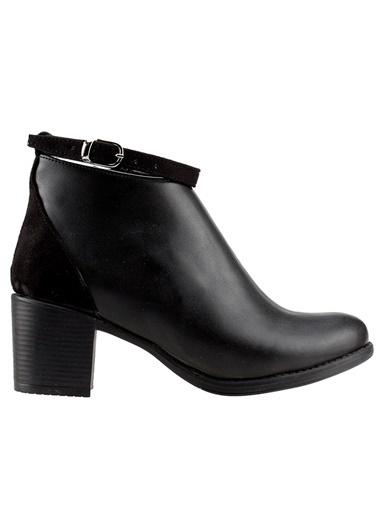 Ayakland Ayakland 8422-837 Siyah 5,5 Cm Topuk Bayan Cilt Bot Ayakkabı Siyah